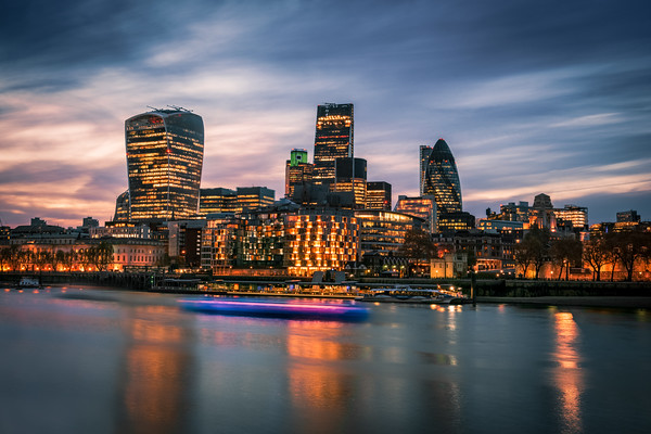 The Modern London in Twilight