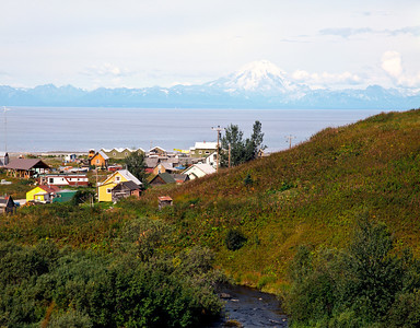Nobody, North America, USA, Alaska, Kenai Peninsula, Ninichik Village at Mouth of Ninichik River on Cook Inlet Across from Mount Redoubt, an Alaska Native Village