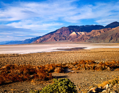 Nobody, North America, USA, California and Nevada, Death Valley National Park, Badwater Basin, Mesquite and the Black Mountains of the Amaragosa Range from Mormon Point