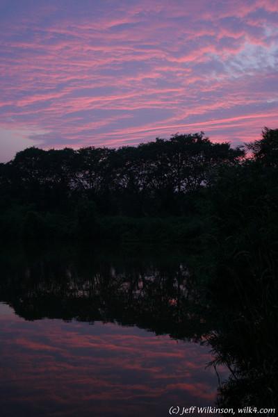#5699 sunset over Vanderkruk's pond, reflected in the water