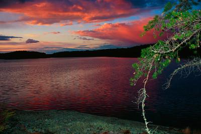 Lake Kawnipi Sunset, Quetico Provincial Park, Ontario, Canada
