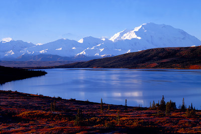 Mount McKinley (Denali) in Denali N. P. Alaska, Sunrise over Wonder Lake