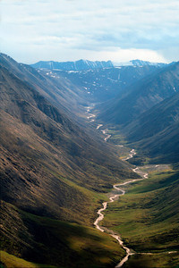 Hulahula River looking south from the air to the Romanzof Mts. and Continental Divide, ANWR, Alaska, Brooks Mountains