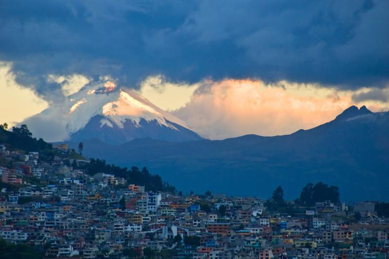 Quito, Ecuador, Cotopaxi Volcano from City Center at Sunset