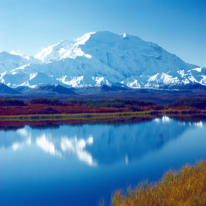 Mount McKinley (Denali) in Denali N. P. Alaska, Reflected in Pond