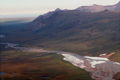 Hulahula River from the air looking over the coastal plain to the Arctic Ocean, June,1990