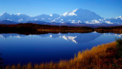 Denali across reflecting pond with fall colors II