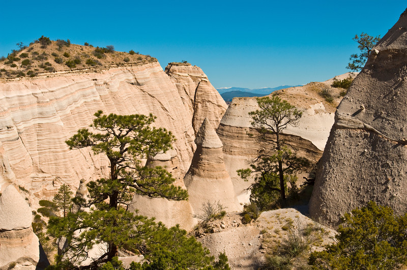 Nobody. North America, USA, New Mexico, Tent Rocks National Monument, Canyon Trail to Mesa top through Slot Canyon and cone-shaped pink, beige and white rocks