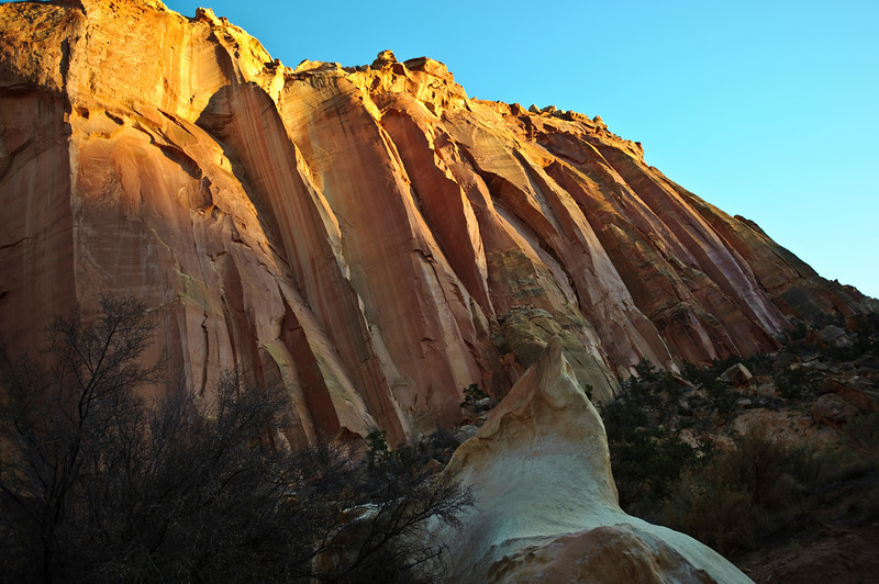 Nobody, North America, USA, Utah, Capitol Reef National Park, Pink and Beige Fluted Canyon Walls