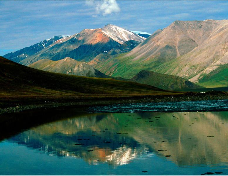 Nobody, North America, USA, Alaska, Arctic National Wildlife Refuge, Franklin Mountains Reflected in Schrader Lake