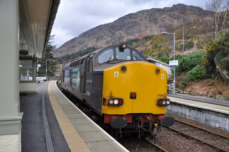 37059 at Glenfinnan, having arrived light engine from Fort William. 21/03/12.