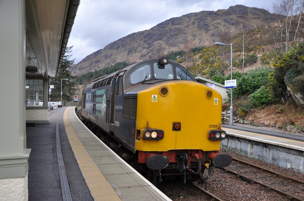37059 at Glenfinnan, having arrived light engine from Fort William. 21/03/12.