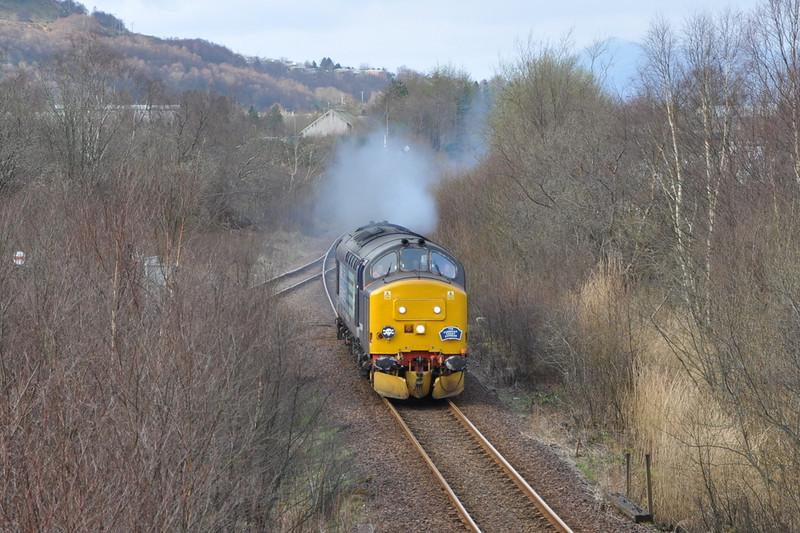 37688, passing Fort William Alcan plant running light engine back to Carlisle. 22/03/12.