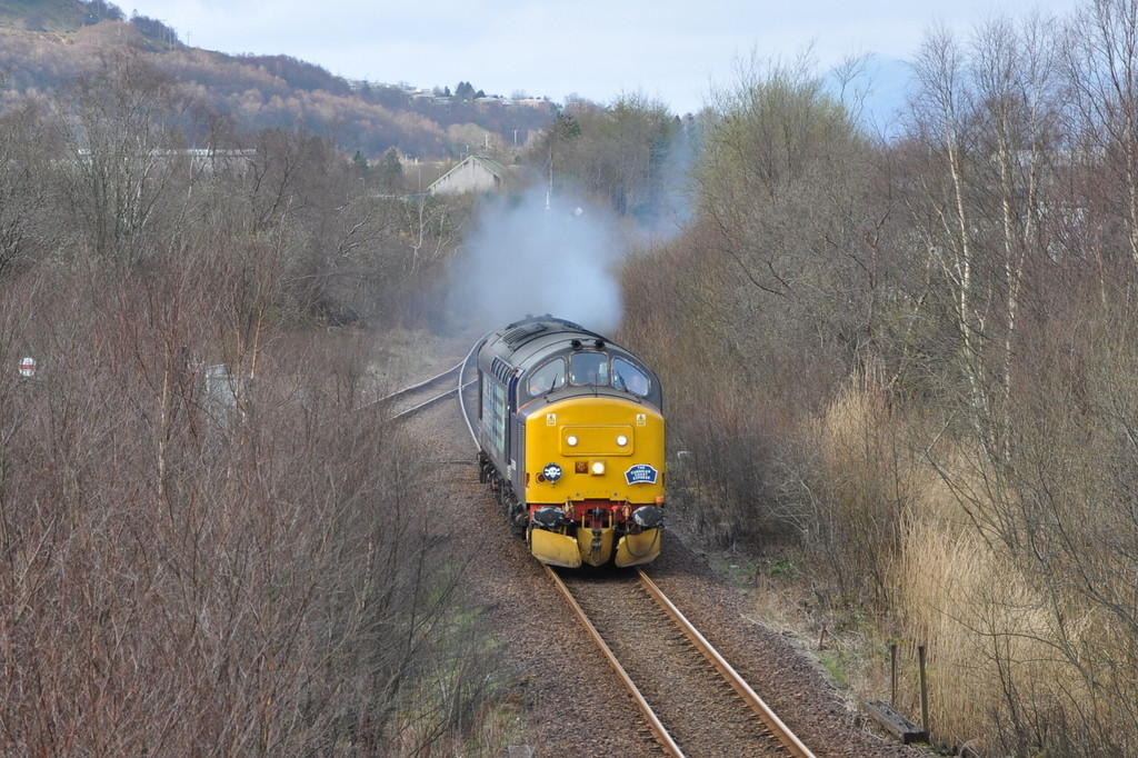 37688, passing Fort William Alcan plant running light engine back to Carlisle. 22/03/12.