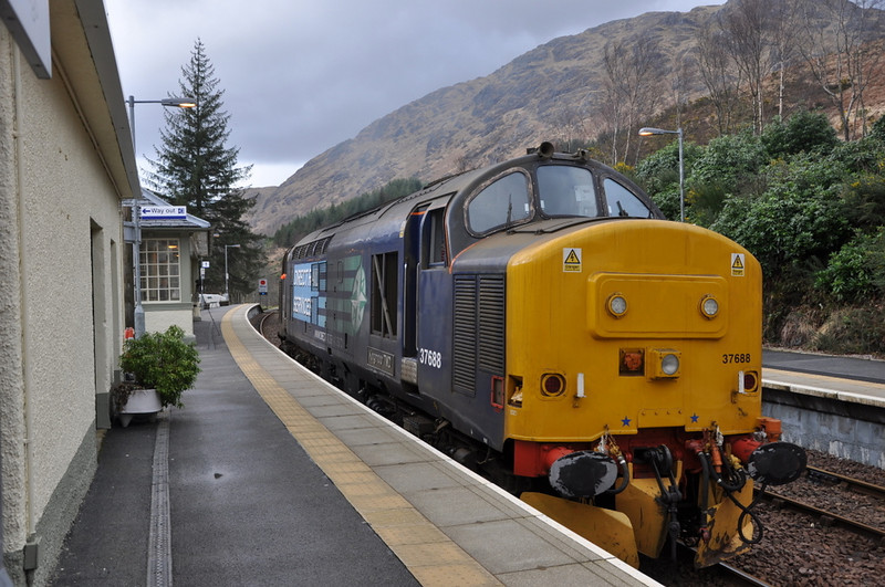 37688 at Glenfinnan, waiting to run light engine back to Fort William. 20/03/12.