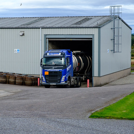 Tanker Truck Being Loaded with Malt Whisky for Transportation to Bottler, Glenfarclas Distillery, Ballindalloch, Scotland