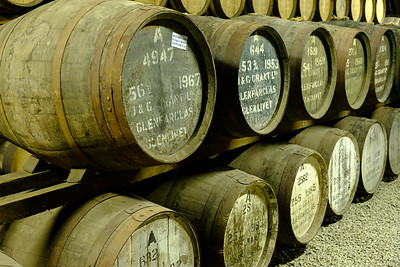 Casks of Whisky Being Aged in a Warehouse, Glenfarclas Distillery, Ballindalloch, Scotland