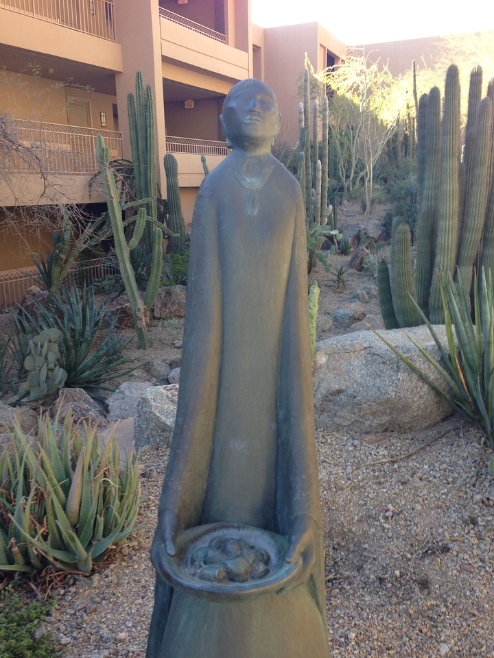 Sculpture in cactus garden<br /> The Phoenician