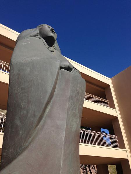 Sculpture in cactus garden<br /> The Phoenician