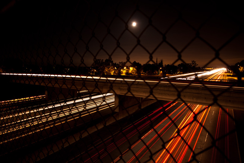 Day 18. July 26, 2010. The footbridge over the 101 near Oregon Expressway. I was out here one night a while back (to smash pumpkins) and noted to myself that this would be a great place for night photography. So here I am, months later, taking advantage of the full moon to get some night traffic shots.<br /> <br /> 10-22mm f/3.5-4.5 @ 16mm. f/4.0. 10s. ISO 100.