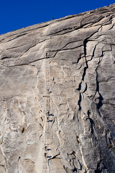 Climbing up Half Dome. It's really steep. It's also really slippery.