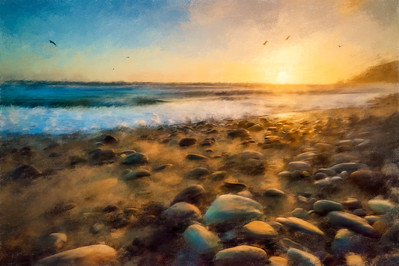California Coast Sunset painted