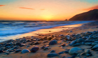 Mugu Point Sunset Painted