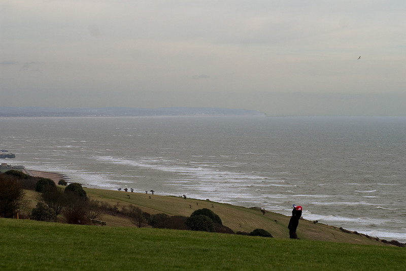 Near Beachy Head, February 2008, -1C, wind force 6-7. The kite is out of the picture.