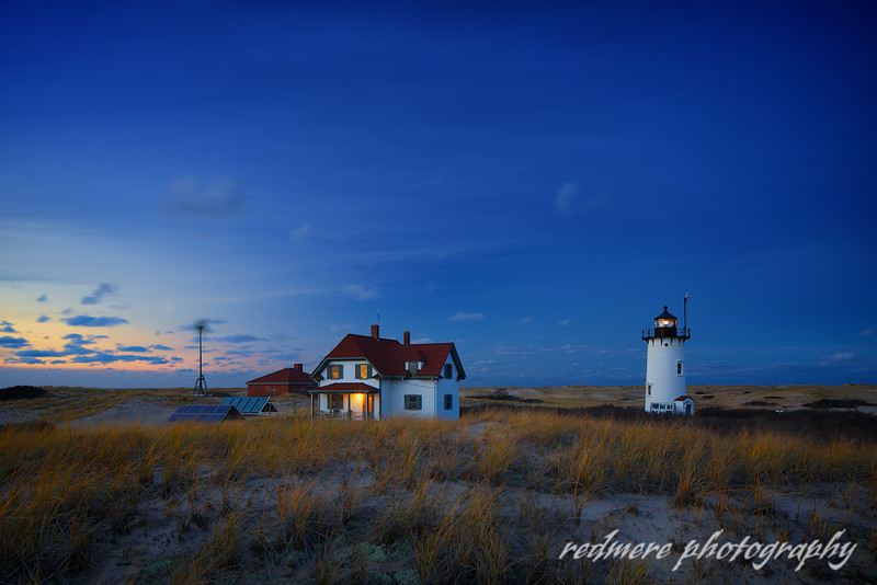 Leaving the Lights on During a Late Autumn Sunset Off the Grid at Race Point Light in Provincetown Massachusetts