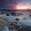 Northport, Leelanau township, MI.<br /> Wisps of magenta fan out over the shore after sundown, at the tip of Leelanau peninsula,