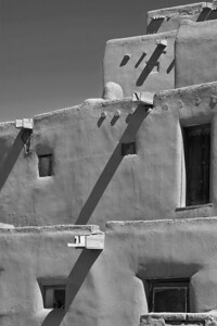In Black and White the Pueplo is a study in shapes, forms, shadows and light.
