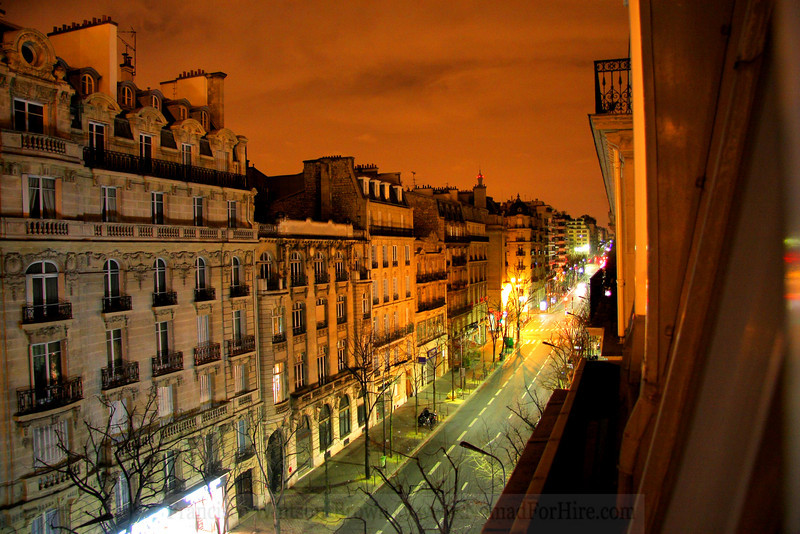 Lonely city streets on a cold winter night. Paris France.