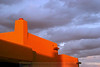 Santa Fe Architecture, lit up by a southwest sunset.  New Mexico.