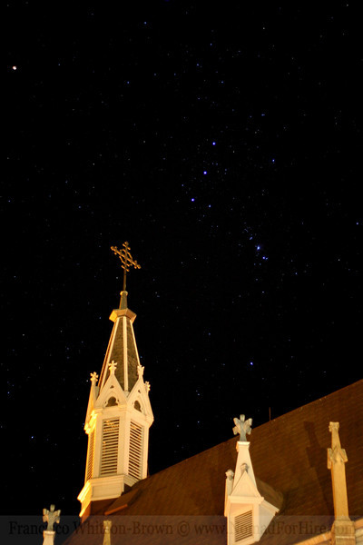 The Constellation of Orion, overlooking Loretto Chapel. Santa Fe, New Mexico.