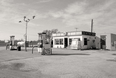 Danny's Service Station. Division and West Bypass, Springfoeld, MO. Kodak T-Max 100; dr5 reversal processing