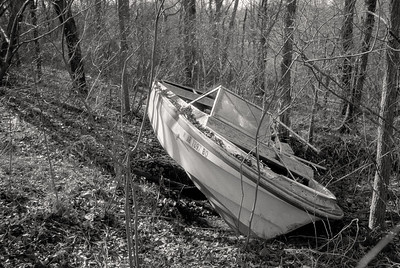 Abandoned boat in the Ozarks woods. Kodak T-Max 100; dr5 reversal processing