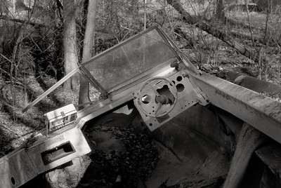Abandoned boat in the Ozarks woods; view from the helm. Kodak T-Max 100; dr5 reversal processing