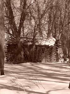 Log Cabin, sepia