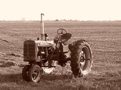 Farmall tractor in spring field, sepia.
