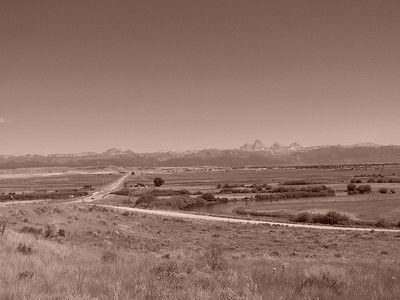 Teton Valley, Idaho and Teton Mountain Range, Sepia. 8.08