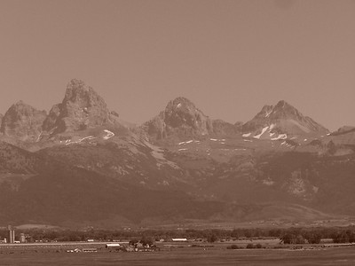 Teton Valley, Idaho and Grand Tetons, Sepia. 8.08  Mt. Owen (12,928ft), Grand Teton (13,770 ft), Middle Teton (12,804 ft), South Teton (12,514 ft).