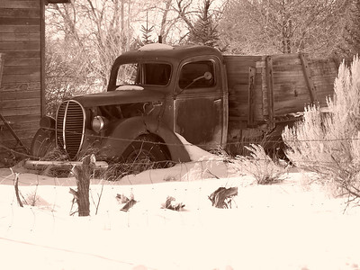 Old truck near Heise, ID in sepia