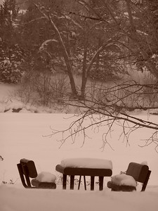 Winter picnic table, sepia