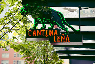 A neon-green lit leopard behind green leaves. Part of the outdoor signage to Cantina Lena in downtown Seattle.
