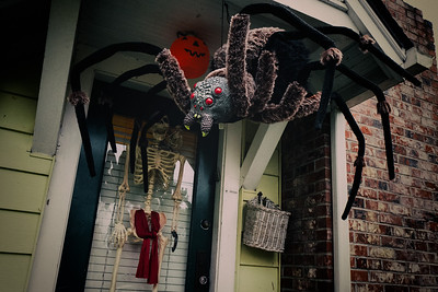 Giant Halloween spider hanging from the front porch of a West Seattle home.