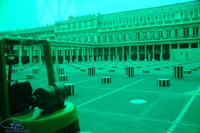 Palais Royal, Paris thru colored windows in construction barrier.  2008