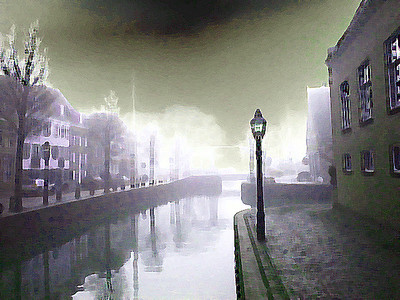 Foggy canal in Hoorn outside of Amsterdam