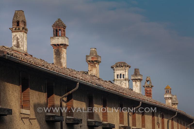 Chimneys in  Via dei Fiori (Flowers Street). Sforzesca