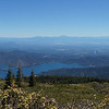 Panorama view with Shasta Mountain on the left. At over 14,000 feet it has snow year-round.