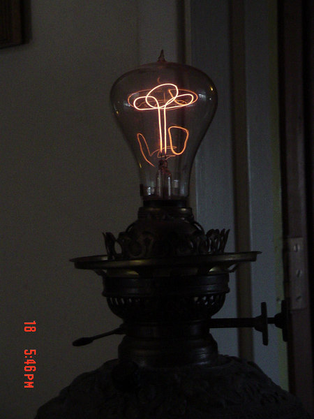 My Prize Shelby Triple Loop<br /> filament 60W Bulb. Picture 1, <br /> Circa 1900, the same as the<br /> Centennial Bulb.